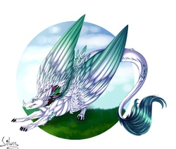 Size: 2373x2000 | Tagged: safe, oc, oc:arculascrain, dragon, feathered dragon, cheek fluff, chest fluff, face down ass up, fangs, feather, fluffy, grin, leg fluff, leonine tail, neck fluff, shoulder fluff, smiling, solo, stretching, tail feathers, tail fluff, wing fluff