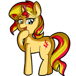 Size: 512x512 | Tagged: safe, artist:anibaruthecat, sunset shimmer, pony, unicorn, big crown thingy, cutie mark, female, jewelry, open mouth, raised hoof, regalia, simple background, smug, solo, transparent background, white background
