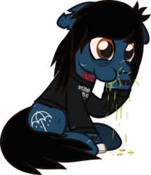 Size: 713x830 | Tagged: artist:lightningbolt, blood, bloodshot eyes, blood stains, bone, bring me the horizon, clothes, colored pupils, derpibooru exclusive, dripping, drop dead clothing, earth pony, floppy ears, hair over one eye, hoof in mouth, long sleeves, male, nosebleed, oliver sykes, ponified, pony, puffy cheeks, rainbow blood, safe, scar, shirt, sick, simple background, sitting, solo, stain, stallion, stitches, svg, .svg available, tattoo, transparent background, undead, urine, vector, vomit, vomiting, zombie, zombie pony