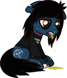 Size: 713x830 | Tagged: artist:lightningbolt, bags under eyes, blood, bloodshot eyes, blood stains, bone, bring me the horizon, clothes, colored pupils, derpibooru exclusive, dripping, drop dead clothing, earth pony, fangs, floppy ears, hair over one eye, lidded eyes, lip piercing, long sleeves, male, nosebleed, oliver sykes, piercing, ponified, pony, rainbow blood, safe, scar, shirt, sick, simple background, sitting, solo, stain, stallion, stitches, svg, .svg available, tattoo, tongue out, transparent background, undead, urine, vector, vomit, vomiting, zombie, zombie pony