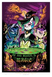 Size: 1800x2631 | Tagged: safe, artist:andypriceart, princess cadance, princess celestia, princess luna, alicorn, bat, cat, pony, idw, spoiler:comic, spoiler:comic71, bedroom eyes, candle, cauldron, choker, clothes, collar, do you believe in magic?, female, halloween, hat, holiday, hood, hoof shoes, jack-o-lantern, looking at you, mare, moon, nightmare night, photo, pumpkin, skull, staff, top hat, trio, witch, witch hat