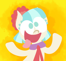 Size: 650x600 | Tagged: safe, artist:alittleofsomething, coco pommel, earth pony, pony, female, lineless, majestic as fuck, mare, silly, silly pony, solo, tongue out