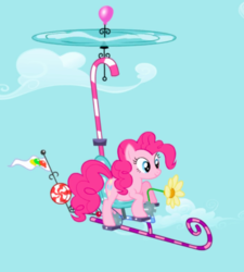 Size: 519x577 | Tagged: cropped, earth pony, female, flying, flying contraption, griffon the brush off, mare, pinkiecopter, pinkie pie, pony, safe, screencap