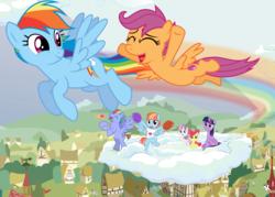 Size: 7000x5000 | Tagged: safe, artist:cloudyglow, artist:dashiesparkle, artist:mundschenk85, artist:parclytaxel, artist:reginault, artist:yanoda, apple bloom, bow hothoof, rainbow dash, scootaloo, sweetie belle, twilight sparkle, windy whistles, alicorn, absurd resolution, cheering, cloud, cutie mark crusaders, flying, rainbow trail, scootaloo can fly, twilight sparkle (alicorn), vector
