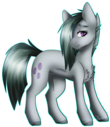 Size: 581x672 | Tagged: artist:sketchykohaidraws, chest fluff, cutie mark, earth pony, female, hair over one eye, lidded eyes, looking at you, marble pie, mare, pony, safe, sidemouth, simple background, smiling, solo, transparent background
