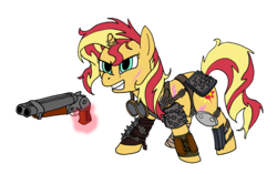 Size: 5947x3733 | Tagged: safe, artist:1438, sunset shimmer, armor, double barreled shotgun, fallout, female, goggles, gun, raider, sawed off shotgun, scar, shotgun, simple background, solo, transparent background, weapon