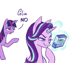 Size: 1600x1400 | Tagged: safe, anonymous artist, starlight glimmer, twilight sparkle, pony, unicorn, /mlp/, 4chan, annoyed, artificial sweetener, colored, devious, drawthread, duo, equal, evil grin, female, glowing horn, grin, magic, mare, no, no good will come of this, pointing, pun, pure unfiltered evil, s5 starlight, silly, simple background, smiling, speech, telekinesis, that pony sure does love equality, thinking, this will end in communism, this will end in tears and/or a journey to the moon, this will end in tears and/or death and/or covered in tree sap, visual pun, white background