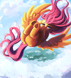 Size: 3200x3500 | Tagged: artist:miokomata, cloud, falling, female, fluttershy, hoof over mouth, mare, pegasus, plot, pony, safe, solo, underhoof
