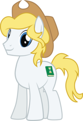 Size: 2106x3075 | Tagged: artist:duskthebatpack, blonde hair, blonde mane, blue eyes, commission, cowboy hat, cutie mark, earth pony, hat, male, oc, oc:hickory switch, pony, safe, show accurate, simple background, solo, stallion, stetson, transparent background, vector