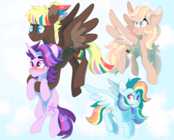 Size: 1600x1294 | Tagged: adopted offspring, artist:leviostars, blushing, carrying, female, flying, magical lesbian spawn, male, mare, next generation, oc, oc:flidaisa, oc:prima blitzer, oc:twilight tracker, oc:zap apple jam, offspring, parent:apple bloom, parent:carrot crunch, parent:fluttershy, parent:quarter hearts, parent:rainbow dash, parents:crunchbloom, parents:flutterhearts, parent:starlight glimmer, parents:tempestglimmer, parents:vapordash, parent:tempest shadow, parent:vapor trail, pegasus, pony, safe, stallion, unicorn
