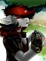 Size: 1200x1600 | Tagged: artist:brainiac, barding, chest fluff, clothes, fallout equestria, fallout equestria: project horizons, fanfic art, female, floppy ears, fluffy, frog (hoof), glowing eyes, gun, mare, oc, oc:blackjack, safe, shotgun, solo, underhoof, unicorn, weapon