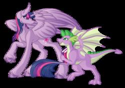 Size: 6102x4260 | Tagged: safe, artist:amazing-artsong, spike, twilight sparkle, alicorn, dragon, molt down, absurd resolution, book, female, mama twilight, simple background, transparent background, twilight sparkle (alicorn), unshorn fetlocks, winged spike