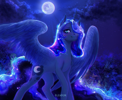 Size: 1920x1580 | Tagged: safe, artist:elzafox, princess luna, alicorn, pony, color porn, female, looking at you, mare, missing accessory, moon, night, solo, spread wings, wings