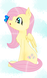 Size: 1500x2500 | Tagged: safe, artist:salad-puncher, fluttershy, butterfly, pegasus, pony, butterfly on nose, female, insect on nose, looking at something, mare, open mouth, profile, sitting, solo, spread wings, wings