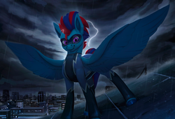 Size: 1100x746 | Tagged: artist:rodrigues404, city, cloud, electricity, lightning, male, mask, oc, oc:andrew swiftwing, pegasus, pose, rain, safe, skyline, solo, spread wings, stallion, storm, superhero, wings