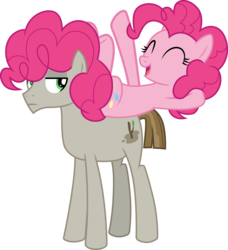 Size: 3000x3287 | Tagged: safe, artist:cloudyglow, mudbriar, pinkie pie, earth pony, pony, the maud couple, eyes closed, female, looking back, male, mare, simple background, smiling, stallion, transparent background, vector, wig