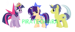 Size: 1238x532 | Tagged: safe, artist:piratechiara, comet tail, twilight sparkle, oc, alicorn, big crown thingy, cometlight, family, female, jewelry, male, offspring, parent:comet tail, parent:twilight sparkle, parents:cometlight, regalia, shipping, simple background, straight, transparent background, twilight sparkle (alicorn)