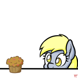 Size: 500x500 | Tagged: artist:yakoshi, derpy hooves, female, food, looking at something, mare, muffin, pegasus, pony, safe, simple background, solo, soon, transparent background