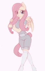 Size: 565x900 | Tagged: safe, artist:yasuokakitsune, fluttershy, pegasus, anthro, clothes, cute, eye clipping through hair, female, jumpsuit, kneesocks, mare, shirt, shorts, shyabetes, simple background, sketch, socks, solo