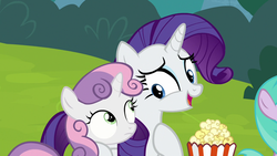 Size: 1280x720 | Tagged: duo, female, filly, foal, food, forever filly, grass, mare, pony, popcorn, rarity, safe, screencap, sisters, smiling, sweetie belle, unicorn