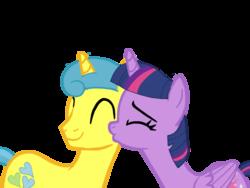 Size: 1024x768 | Tagged: safe, artist:turnaboutart, lemon hearts, twilight sparkle, alicorn, pony, unicorn, base used, citrus heart, citruslight, cutie mark, female, half r63 shipping, kiss on the cheek, kissing, lemonlight, male, mare, rule 63, shipping, simple background, stallion, straight, transparent background, twilight sparkle (alicorn)