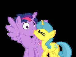 Size: 1024x768 | Tagged: safe, artist:turnaboutart, lemon hearts, twilight sparkle, alicorn, pony, unicorn, base used, cutie mark, dusk shine, duskhearts, female, half r63 shipping, kiss on the lips, kissing, lemonlight, male, mare, prince dusk, rule 63, shipping, simple background, stallion, straight, surprise kiss, surprised, transparent background, twilight sparkle (alicorn)