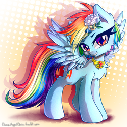 Size: 2164x2174 | Tagged: artist:chaosangeldesu, chest fluff, ear fluff, element of loyalty, female, flower, flower in hair, fluffy, grin, mare, pegasus, pony, rainbow dash, safe, smiling, solo, spread wings, wings