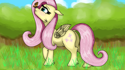 Size: 1920x1080 | Tagged: artist:usattesa, butterfly, cute, female, fluttershy, forest, mare, paint tool sai, pegasus, pony, safe, shyabetes, solo, tree