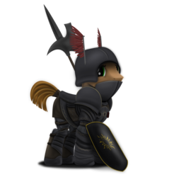 Size: 2166x2204   Tagged: safe, artist:richmay, oc, oc only, pony, armor, axe, cavalier, crossover, guard, helmet, inkscape, male, nilfgaard, poleaxe, ponified, shield, simple background, soldier, solo, the witcher, the witcher 2, the witcher 3, transparent background, vector, weapon