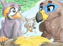 Size: 1697x1234 | Tagged: safe, artist:victorydanceofficial, oc, oc only, oc:der, oc:ruzeth, oc:saewin, griffon, bully, bullying, griffonized, leaves, male, micro, nest, species swap, traditional art, tree, trio, watercolor painting