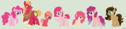 Size: 2326x536   Tagged: safe, artist:igzzy, big macintosh, pinkie pie, oc, oc:apple cake, oc:cherry gum, oc:cookie crumble, oc:cotton candy, oc:shiny apple, earth pony, pegasus, pony, adopted offspring, base used, blank flank, colored pupils, colt, family, female, freckles, green background, heterochromia, jewelry, male, mare, necklace, offspring, parent:big macintosh, parent:pinkie pie, parents:pinkiemac, pinkiemac, shipping, simple background, straight
