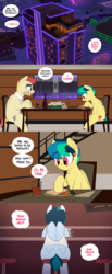 Size: 1280x3106   Tagged: safe, artist:shinodage, oc, oc only, oc:apogee, oc:delta vee, oc:jet stream, pegasus, pony, apartment complex, bottle, building, carrot, chair, city, clothes, comic, cup, delta vee's junkyard, drink, eating, family, father and daughter, female, filly, food, freckles, male, mare, mug, necktie, open mouth, penthouse, plate, shirt, sitting, speech bubble, stallion, table, tinyface