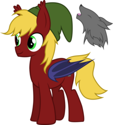 Size: 2695x2984 | Tagged: artist:duskthebatpack, bat pony, bat pony oc, cap, commission, cutie mark, ear fluff, hat, hybrid, male, oc, oc:griffin night, oc:howling night, safe, show accurate, simple background, stallion, transparent background, wolf