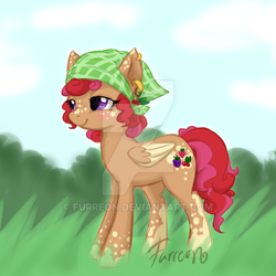 Size: 600x600 | Tagged: safe, artist:furreon, oc, oc only, pegasus, pony, adoptable, adopted, bandana, colored wings, colored wingtips, dappled, deviantart watermark, ear piercing, earring, female, jewelry, lidded eyes, mare, obtrusive watermark, piercing, signature, solo, watermark