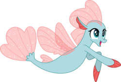 Size: 5046x3416 | Tagged: safe, artist:phucknuckl, ocellus, seapony (g4), non-compete clause, disguise, disguised changeling, female, open mouth, seaponified, seapony ocellus, simple background, smiling, solo, species swap, transparent background, vector