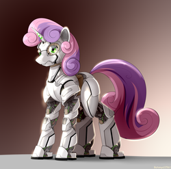 Size: 2510x2480 | Tagged: artist:batonya12561, friendship is witchcraft, green eyes, pony, robot, robot pony, safe, solo, sweetie belle, sweetie bot