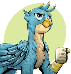 Size: 700x729   Tagged: safe, artist:brother-lionheart, gallus, griffon, the hearth's warming club, abstract background, circle background, coffee mug, cup, holly, male, mug, solo