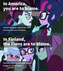 Size: 1280x1440 | Tagged: english, equestria girls, finland, finnish, friendship games, lyrics, misheard, mondegreen, polydactyly, principal abacus cinch, safe, sci-twi, screencap, song reference, sugarcoat, sunny flare, text, twilight sparkle, unleash the magic