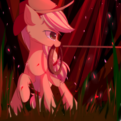 Size: 1500x1500 | Tagged: applejack, artist:heddopen, earth pony, forest, hat, mouth hold, rope, safe