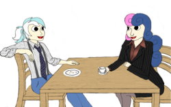 Size: 4152x2608 | Tagged: artist:jesterofdestiny, blouse, bon bon, chair, clothes, coffee, digitally colored, dress shirt, duo, human, humanized, jeans, looking at each other, lyra heartstrings, necktie, open mouth, pants, pantyhose, pinstripes, plate, ponytail, safe, satin, shirt, silk, simple background, sitting, skirt, skirt suit, stockings, suit, suspenders, sweetie drops, table, thigh highs, traditional art, tube skirt, white background