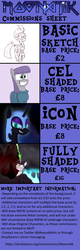 Size: 1080x3382 | Tagged: alicorn, armor, artist:moonatik, atg 2018, blood, bone, broken horn, bust, castle, cave, cloak, clothes, commission info, dress, equestria at war mod, evil grin, eye scar, fire, fizzlepop berrytwist, grin, hair bun, helmet, irrational exuberance, lightning, magic, maud pie, my little pony: the movie, necromancer, newbie artist training grounds, nightmare moon, oc, oc:rosa maledicta, out of character, pony, portrait, rain, safe, scar, shoes, simple background, sketch, skull, slit eyes, smiling, space, stars, surprised, tempest shadow, text, transparent background, unicorn