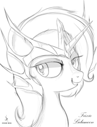 Size: 900x1178 | Tagged: safe, artist:zidanemina, trixie, pony, unicorn, crossover, doodle, female, rough sketch, saint seiya, simple background, sketch, solo, white background