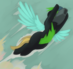 Size: 1037x969 | Tagged: safe, artist:marsminer, lightning dust, the washouts (episode), clothes, female, helmet, mare, solo, the washouts, uniform, washouts uniform