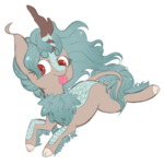 Size: 2800x2800   Tagged: safe, artist:veincchi, oc, oc only, kirin, female, heart eyes, simple background, sketch, solo, tongue out, transparent background, wingding eyes