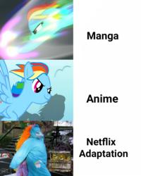 Size: 1080x1351 | Tagged: safe, edit, edited screencap, screencap, rainbow dash, my little pony: the movie, sonic rainboom (episode), anime, clothes, cosplay, costume, manga, meme, netflix, netflix adaptation, sonic rainboom, text