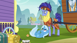Size: 1280x720 | Tagged: clothes, colored hooves, cute, doorknob, duo, female, goggles, hoo'far, looking up, male, mare, ms. powerful, on back, pony, road to friendship, saddle arabian, safe, screencap, shipping fuel, stallion, trixie, trixie's wagon, unicorn