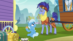 Size: 1280x720 | Tagged: clothes, doorknob, duo, female, goggles, hoo'far, male, mare, ms. powerful, pony, road to friendship, saddle arabian, safe, screencap, stallion, trixie, unicorn