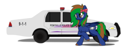 Size: 2500x964 | Tagged: safe, artist:aaronmk, oc, oc:twisted cyclone, pegasus, pony, bow, car, commission, crown victoria, female, hair bow, mare, police, simple background, transparent background, vector