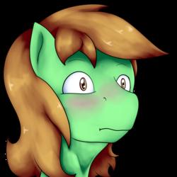 Size: 1004x1004 | Tagged: safe, artist:undermrph, oc, oc only, oc:chrisgotjar, earth pony, pony, blushing, eye reflection, head only, male, profile, reflection, simple background, solo, stallion, transparent background
