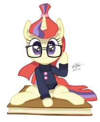 Size: 1838x2240 | Tagged: :3, artist:chilebender, book, clothes, cute, dancerbetes, female, glasses, heart eyes, looking at you, mare, moondancer, pony, safe, simple background, sitting, smiling, solo, sweater, transparent background, unicorn, wingding eyes